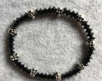 Jet Swarovski Crystal & Skull Bracelet