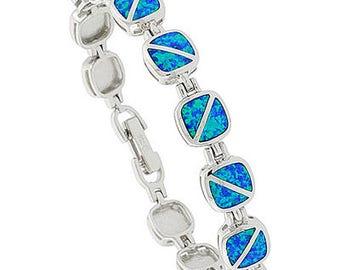 Sterling Silver Blue Opal Charm Bracelet