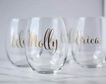 Personalized stemless wine glasses-set of 10