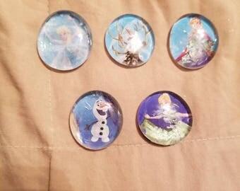 Frozen glass gem magnets