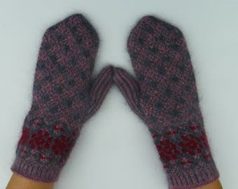 Patterned mittens Gray mittens Pattern mittens Knit mittens Knitted mittens Gift Wool and mochera yarn mittens Knit gloves Gift