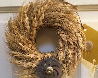 Wheat wreath etsy for Decoration porte disque 33t