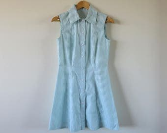 90's Vintage Tennis Style Shirt Dress / Cute Striped Button Up / Preppy Sporty Cotton Size 8 Small