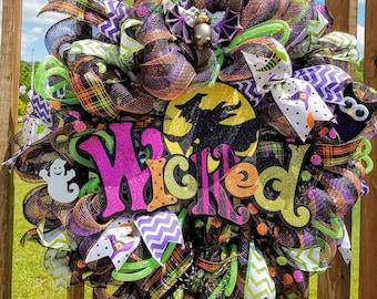 Halloween Deco Mesh Wreath, Front Door Wreath,Halloween Wicked Witch Wreath, Halloween Decor,Door Wreath, Halloween Door Decor, Mesh Wreath