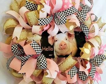 Pig Wreath, Animal Wreath, Farmhouse Decor, Pig Decor, Spring Wreath, Gift for Mom, Pig Lovers Wreath, Country Decor, Front Door Wreath
