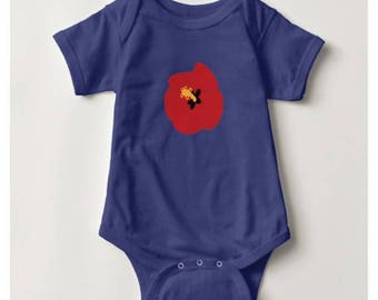 Summer Red Hibiscus Baby Bodysuit_Royal Blue