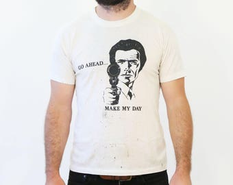 Vintage 1980s Clint Eastwood Go Ahead Make My Day Sudden Impact 50/50 Tee