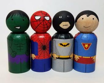 Printable Superhero Clothes For Peg Dolls, Four Styles, DIY Peg Dolls, PDF Download Peg Doll Clothes