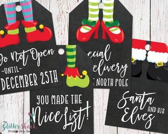 PRINTABLE Christmas Gift Tags, Holiday Gift Tags, Christmas Tags, Holiday Tags, Xmas Tags, Xmas Gift Tags, Elf Tags, Elf Christmas Tags