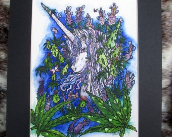 "Linalool -- Original 9"" x 12"" piece with 12x16 mat)"