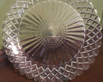 Hocking Glass Co Crystal Dinner Plate Waterford or Waffle Pattern vintage