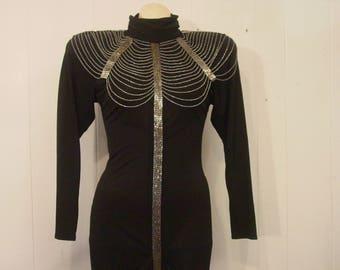 Vintage dress, 1980s dress, Disco dress, beaded dress, Casadei dress, vintage clothing, medium