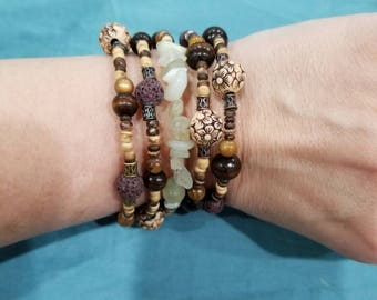 Tiger's eye bracelet Boho stone and wood wrap