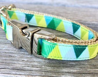 "Spring Mountains Teacup Dog Collar, 3/8"" Wide Dog Collar, Tiny Dog Collar, Green Teacup Dog Collar, Shades of Green Teacup Dog Collar"