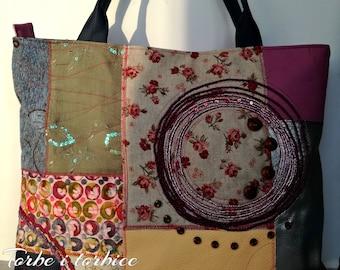 Large tote bag. Canvas-faux leather patchwork bag, Spring-summer multi color handbag, Full Zipped Up Tote Bag, Everyday Bag, City Tote Bag