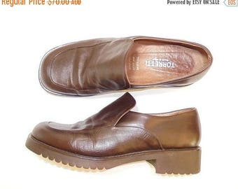HALF OFF SALE Ladies Vintage Loafers, Italian Leather Shoes, Brown Leather Shoes, Ladies Brown Vintage