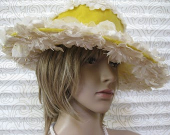 Vintage Picture Hat, Wide Brim Tilt Hat, White Flowers, Wide Yellow Velvet Ribbon, Seed Pearl Accents, Mid Century, Fabulously Feminine!