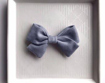 Gray Corduroy Classic Bow - Baby Girl Nylon Headband and Bows - Girls Fabric Bow - Newborn Bow - Corduroy Bow - Holiday Bow - Gray Bow