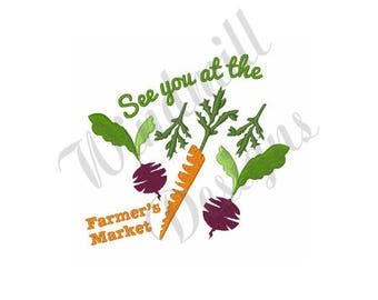 Farmers Market Carrots Beets - Machine Embroidery Design
