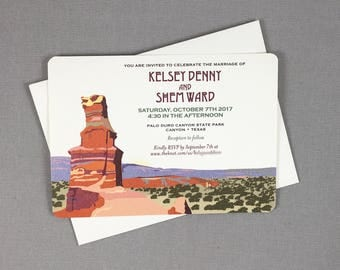Palo Duro Canyon Vintage 5x7 Wedding Invitation with A7 Envelopes