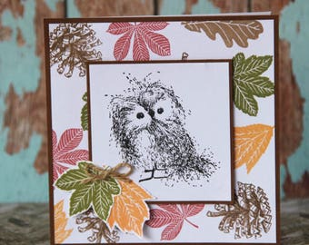 Autumn card with cute owl and leaves