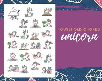 Cute Household Chores Unicorn Stickers | Happy Planner | Stickers Planner