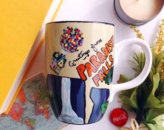 Balloon house travel postcard ceramic mug  ;coffee and tea
