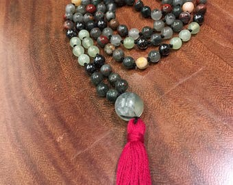 Natural Gemstone 108 Bead 8mm Mala / Prayer Beads / Necklace - Bloodstone, Prehnite, Hematite
