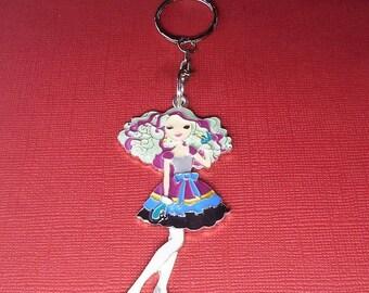 """Fashion Girl Keychain, Girl is 2.5"""", Q52"""