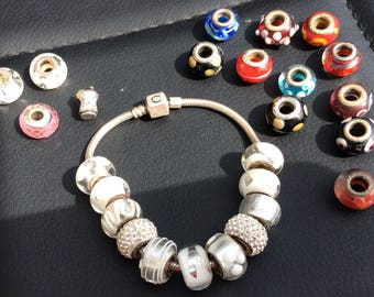 Hallmarked Silver Charm Bracelet with Murano Glass and Silver Beads.