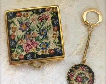 Vintage Schildkraut Petit Point Compact and Keychain Set