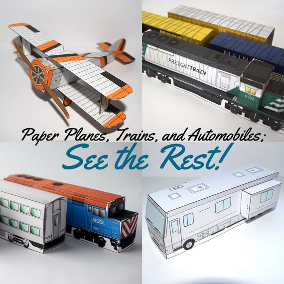 Make Your Own Model Template 3d Papercraft Freight Train Kids