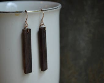 Walnut Wood Bar Earrings
