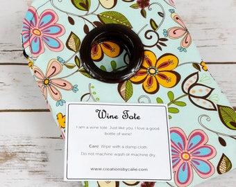 Colorful, Floral, Wine Sack, Champagne Bag, Bottle Tote, Gift Idea, Picnic, Wedding, Housewarming, Hostess, Handmade, Creations by Calie