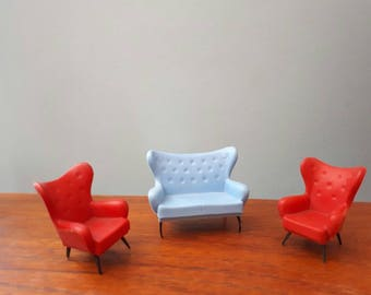 Vintage 1960s Triang Wing Settee Sofa and Wing Chairs