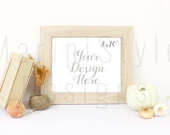 Minimalistic 10x8 Empty frame Mockup, Wood Frame Mock up, Autumn Styled Stock Photography, Stock image, Thanksgiving Stock Photo, 654