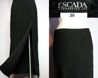 Stunning ESCADA Margaretha Ley Wool SPARKLING Maxi Skirt Dramatic Slit Eu 38 Uk 10