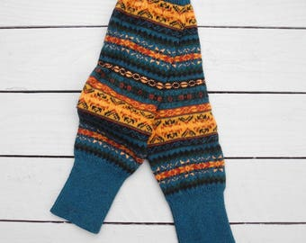 Fair Isle Crochet Knit Leg Warmers (Arctic Teal)