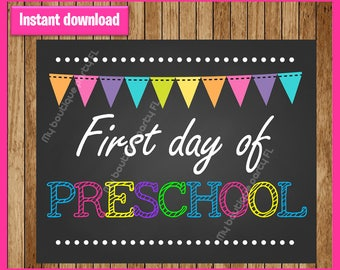 First day of pre-school sign printable, preSchool Printable Sign, First day of preschool 2017 , 1st day of pre-school