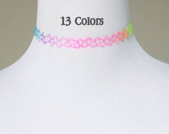 13 Different Colors Stretch Tattoo Choker Necklaces