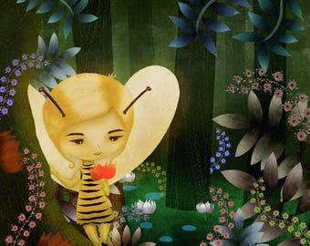 The Bee Fairy Digital Art Print (Children's Illustration / Kids Room Decor)