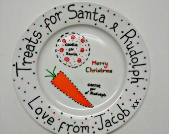 Personalised hand painted Christmas eve plate