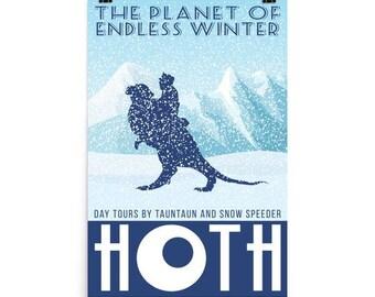 Star Wars Hoth Retro Travel Poster