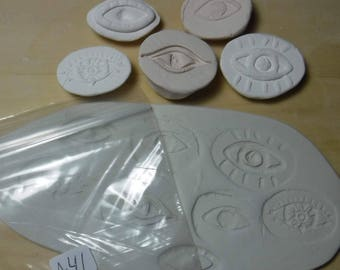 5 Eye Stamps - pottery texture clay stamps //  Set # A-41