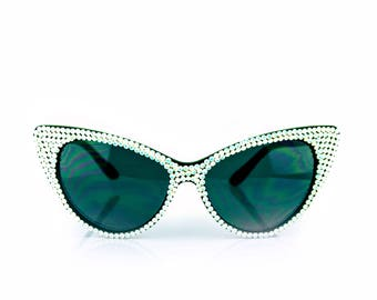 White Opal Studded Swarovski Crystal Fashion Cateye Rhinestone Sunglasses