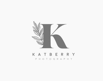 Premade Logo, Photography Logo, Photography Logo Floral, Boho Logo, Initials Flower Logo, Wedding Logo, Elegant Logo, Photo Logo Leaf, P3