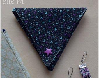 Origami shape triangle fabric purse