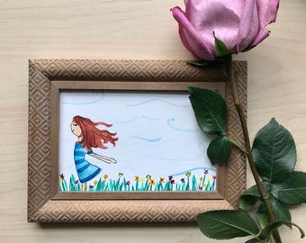 Daydreamer, watercolor, 4x6