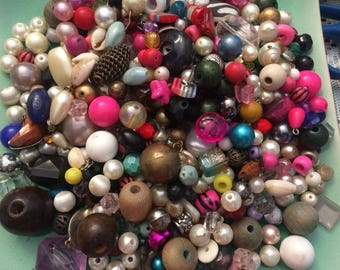 One Pound of Vintage Beads from Broken Necklaces - Free Shipping