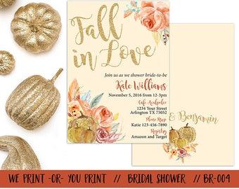 Fall in Love Bridal Shower Invitation, Fall Bridal Shower Invitation, Autumn Bridal Shower, Fall Bridal Invitation, Fall in Love Invitation